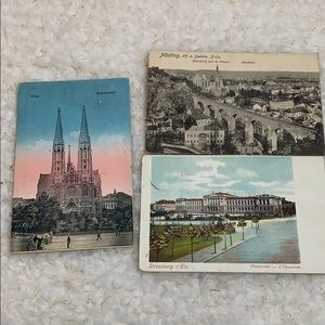 Three Vintage postcards written and stamped